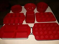 LOT 8 RED ROSHCO SILICONE BAKEWARE PANS MOLDS & 2 METAL WIRE HOLDERS
