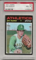 1971 TOPPS #45 JIM CATFISH HUNTER. PSA 8 NM-MT, HOF, OAKLAND ATHLETICS, L@@K