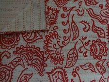 Block Print Fabric Kantha Quilt Twin Indian Blanket Tribal Print Boho Bedspread