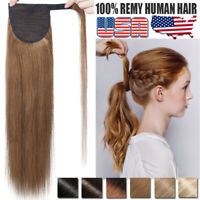 Thick Highlight Clip In Wrap Around Ponytail Human Hair Extensions DIY Piece US