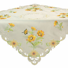 "Sunflower Butterfly Spring Embroidery Tablecloth 34 x 34"" Satin-Look White-Cream"