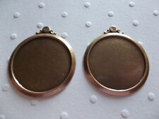 Vintage Style 18mm Round Antiqued Brass Simple & Elegant Settings - Qty 2