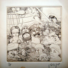 Hand SIGNED 14/25 Judaica ART ETCHING Jewish HEBREW Israel CARICATURE Stalin