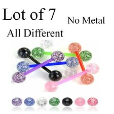Lot 7 x Flexi Pastel Glitter Tongue Bars Piercing Flexible Bar Tounge Nipple