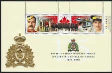 RCMP POLICE = GOLD EMBOSSED EMBLEM = Souvenir Sheet = Canada 1998 #1737b MNH