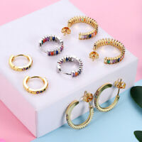 Women Color Round Circle With Multi-color CZ Stone Hoop Earrings Oorbellen