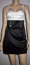 Webb & west noir d'ivoire satin look boutons Bibbed robe de soirée taille 10