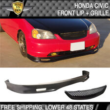Fit 01-03 Honda Civic 2 4 Door Spoon Style Front Bumper Lip PU + Hood Grille ABS