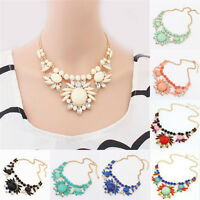Fashion Women Flower Jewelry Necklace Choker Statement Bib Pendant Collar Chain