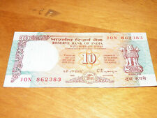 INDIA RESERVE BANK OF INDIA 10 TEN RUPEES 90's Era Currency Banknote Money Note
