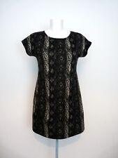 HEAVEN Grey Animal Print Thin Knit Short Sleeve Dress Tunic S M 10 12