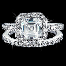 Micro Pave HALO Asscher Cut Signity Cz Cubic Zirconia Engagement Wedding Ring 8