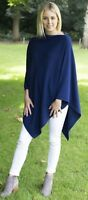 CASHMERE Poncho DENIM BLUE , CAPE Wrap One Size Fits All, FREE UK Shipping,