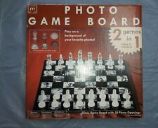 Melannco New Glass Photo Game Board of Glass Chess and Checker Pieces
