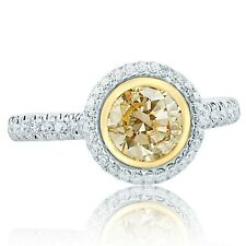 Bezel Set Round Cut Yellow Diamond 1.65 Ct Engagement Ring 14k White Gold