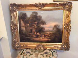 Original large oil on canvas painting John Horsewell, swept gold frame, 'Sunset