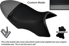 BLACK & GREY CUSTOM FITS BUELL XB 12 SS LIGHTNING LONG DUAL LEATHER SEAT COVER