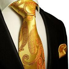 XL Krawatten Set 2tlg gold extra lange 165cm Seidenkrawatte + Tuch 517