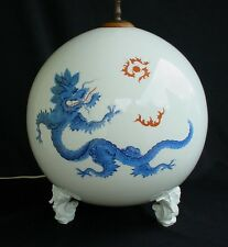 RARE MEISSEN BLUE MING DRAGON SEAHORSE FOOT HUGE GLOBE SHAPED TABLE LAMP OLD