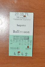 BIGLIETTO TRENO - FERROVIE - TRAIN TICKET - 1971 - LUGANO / BELLINZONA (B2)