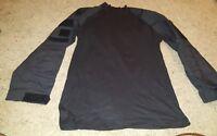 Rothco  Black Long Sleeve Mock neck Shirt Mens Small Black Velcro uniform