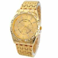 Men's Diamond Metal Band Wrist Watch Analog Quartz Fashion Luxury Clock 2 Colors