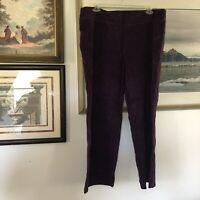 Lands End Plus Size 2X Purple Texture Stripe Pull On Pants Stretch Comfy A1990
