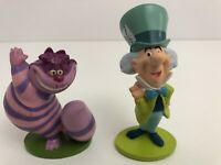 Disney Alice In Wonderland PVC Figures Cake Toppers 2pc Mad Hatter Cheshire Cat