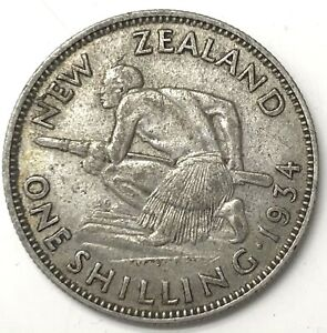 1934 Silver New Zealand 1 Shilling King George V Colonial Coin
