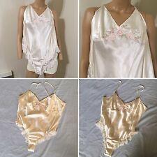 Vtg winter white Flutter Panty Satin Teddy Bodysuit Romper Lingerie women SZ L