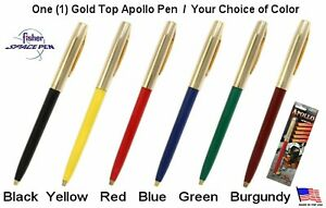 One (1) Fisher Apollo Series Gold Top Space Pen / Your Choice of Color