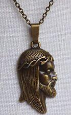 Jesus Anhänger Halskette Bronze Kette Christus Antlitz Inri Religion Geschenk