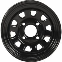 Black 12x7, 4/137, 4+3 (12mm) ITP Delta Steel Wheel With 12mm Bolt Holes -