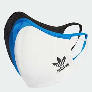 adidas HB7858 Face Cover Mask Facemask One Size Fits 3 Pack Small BLACK WHITE BL
