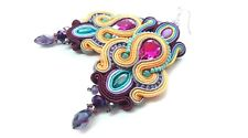 Rainbow Colorful Jewellery Soutache Earrings Handmade Original Gift Boho style