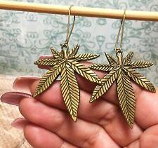 BRONZE MARIJUANA Large_Hoop Drop Charm Earrings_Weed Pot Cannabis Leaf Leaves