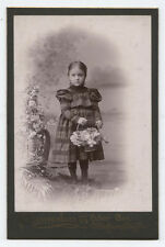 CABINET CARD GIRL IN PLAID DRESS HOLDING BASKET OF FLOWERS. ALLEGHENY, PA.