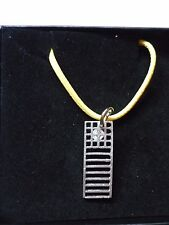 "Mackintosh Chair Back Fine English Pewter On a 18""  Yellow Cord Necklace cw19"