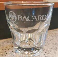 BACARDI Bat Logo Rum Glass Vodka Gin White Etched BAT Libbey Glass USA