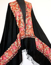 Large, Black, Wool Shawl with Crewel Embroidery. Stole Embroidered in Red, Beige