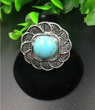 Fashion Retro design Tibet silver flower inlaid round turquoise adjusted Ring