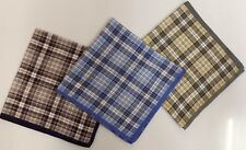 "Mansize Coloured Check  Handkerchiefs, 100 % Cotton,  Pack of 6, 17.5"" x 17.5"""