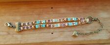 Antique Brass Turquoise Opal czech beaded bracelet Sundance Inspired + Bag