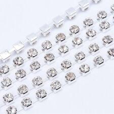 LOT de 1m - 1 mètre CHAINE GALON STRASS 2x2mm ARGENTE perles création bijoux