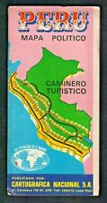 "Vintage 1982 PERU POLITICAL MAP CARTOGRAFICA NACIONAL 35"" x 25""  FULL COLOR"