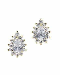 CZ by Kenneth Jay Lane 2CTTW Pear CZ Gold Plated Stud Earrings