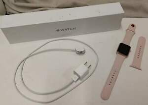 APPLE WATCH SERIES 1 A1802 38MM ROSE IC LOCKED- AS IS- USED- GOOD CONDITION