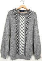 Jantzen Mens Size L Grey Wool Blend Vintage 90's Fisherman Sweater