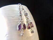 Amethyst & Cubic Zirconia Gemstone Sterling Silver Dangle Earrings