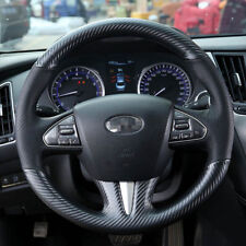Custom PU Leather Carbon Fiber Steering Wheel Stitch on Cover For Infiniti Q50